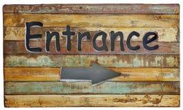 Drewniany sztandaru wejście na starym retro i rocznika stylowym drewnianym panelu Zdjęcie Royalty Free