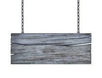 Drewniany szyldowy obwieszenie na łańcuchu odizolowywającym na bielu Obraz Royalty Free