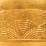 Drewniany tło, Złoty Rzeźbiący drewno łuków wzory Obraz Royalty Free
