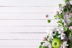 Drewniany tło z biel okwitnięciami i zielonymi jabłkami Obrazy Stock