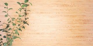 Drewniany tło z rośliny 3D ilustracją royalty ilustracja