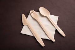 Drewniany tableware Obrazy Royalty Free