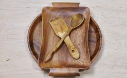 Drewniany tableware tło Fotografia Stock