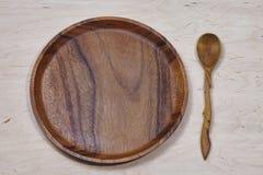 Drewniany tableware tło Obrazy Royalty Free