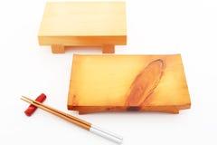 Drewniany talerz dla suszi zdjęcie royalty free
