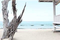 Drewniany taras na plaży Zdjęcie Stock