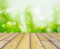 Drewniany tekstury i bokeh tło Obrazy Royalty Free