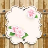 Drewniany tło z różami Obraz Stock