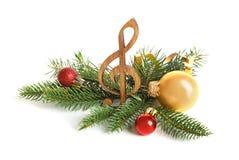Drewniany treble clef, dekoracje i obraz royalty free