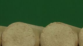 Drewniany trociny brykietuje prostującego, zielonego tło, Paliwa alternatywne, życiorys paliwo zbiory wideo