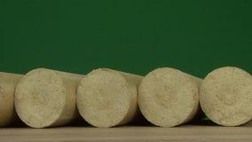 Drewniany trociny brykietuje prostującego, zielonego tło, Paliwa alternatywne, życiorys paliwo zbiory