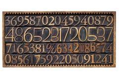 Drewniany typ liczba w pudełku Zdjęcia Stock