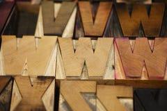 Drewniany typ pisze list WWW Zdjęcie Stock