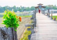 Drewniany Ubein footbridge w Mandalay Myanmar Fotografia Stock