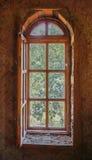 Drewniany łukowaty okno Obrazy Stock