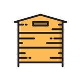 Drewniany ul, pszczoła roju mieszkania stylu cienka kreskowa ikona Obraz Stock