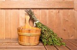 Drewniany wiadro i miotła Obraz Royalty Free