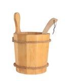 Drewniany wiadro z kopyścią dla sauna Obrazy Royalty Free