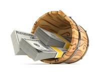 Drewniany wiadro z pieniądze Zdjęcie Royalty Free