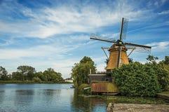 Drewniany wiatraczek obok szerokiej rzeki, obfitolistnych krzaków i zielonego gazonu pod pogodnym niebieskim niebem przy Weesp, Obraz Stock
