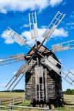 Drewniany wiatraczek w etnograficznym muzeum w Pirohovo blisko Kyiv, UK Fotografia Royalty Free