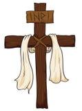 Drewniany Święty krzyż z tkaniną i INRI podpisujemy, Wektorowa ilustracja Zdjęcia Royalty Free
