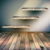 Drewniany wnętrze z szelfowym tłem. EPS 10 Fotografia Royalty Free