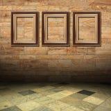 drewniany złoto ramowy marmur Obrazy Royalty Free