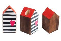 Drewniany zabawka domu dowcipu czerwieni dach Fotografia Stock
