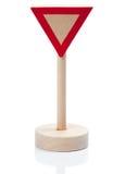 Drewniany zabawkarski fedrunku znak (Vorfahrt achten) Obrazy Stock