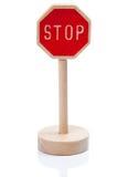 Drewniany zabawkarski przerwa znak (Stopschild) Zdjęcie Royalty Free