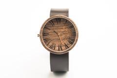 Drewniany zegarek fotografia stock