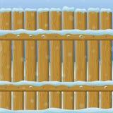 Drewniany zimy ogrodzenie, bezszwowy Fotografia Stock
