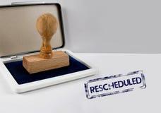 Drewniany znaczek RESCHEDULED Zdjęcie Royalty Free