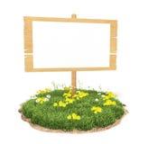 Drewniany znak na trawie Zdjęcia Royalty Free