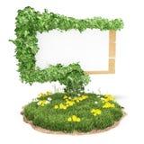 Drewniany znak na trawie z bluszczem Obrazy Stock