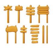 Drewniany znak strzała i desek wektor ustawia odosobnionego na bielu Obrazy Stock