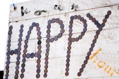 Drewniany znak szczęśliwa godzina obraz royalty free
