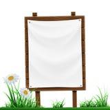 Drewniany znak z białym sztandarem pojedynczy białe tło Obrazy Stock
