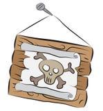 Drewniany znak z czaszki rysunkowym obwieszeniem na gwoździu Obraz Royalty Free