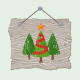 Drewniany znak z drzewami ilustracji