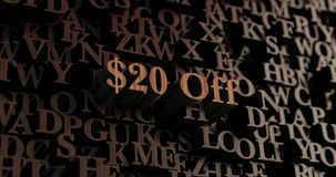 $20 Drewnianych 3D odpłacających się listów Daleko -/wiadomość Zdjęcie Stock