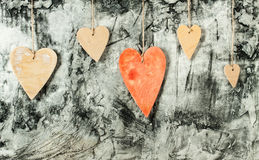 Drewnianych serc zamknięty up Fotografia Royalty Free