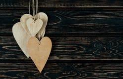 Drewnianych serc zamknięty up Zdjęcia Stock