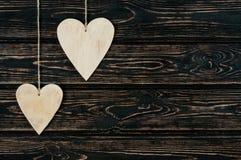 Drewnianych serc zamknięty up Fotografia Stock
