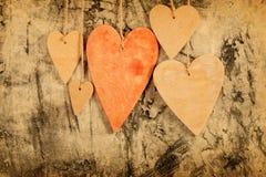 Drewnianych serc zamknięty up Obraz Royalty Free