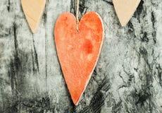 Drewnianych serc zamknięty up Zdjęcia Royalty Free