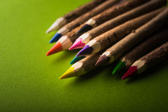 Drewno barwioni ołówki Zdjęcia Stock