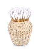 Drewno, bawełna pączki odizolowywający na białym tle Zdjęcie Stock