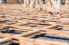 Drewno deski z ryglami tworzy siatkę Fotografia Stock